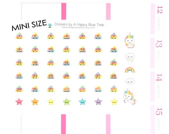 Happy MINI Unicorn Rainbow Poo Date Covers MONTHLY Erin Condren Life Planner ECLP Kawaii Cute Funny Personal Mambi A5 A6 Tiny Poop
