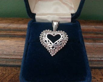 Vintage Sterling Silver Heart Pendant or Charm