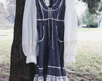 70s Blue Boho Peasant Dress GUNNE SAX by Jessica San Francisco (Jessica McClintock) / S / Small