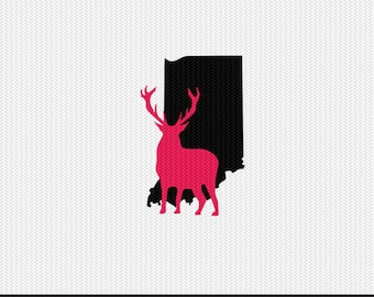 indiana deer svg dxf jpeg png file stencil monogram frame silhouette cameo cricut clip art commercial use