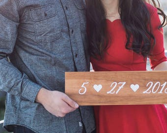 Wedding Date Wood Sign | Wedding Decor | Engagement Photo Prop | Wedding Sign | Rustic Decor