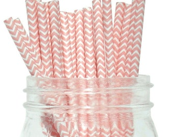 Light Pink Chevron Paper Straws, Party Supplies, Party Decor, Bar Cart Cake Pop Sticks, Party Graduation