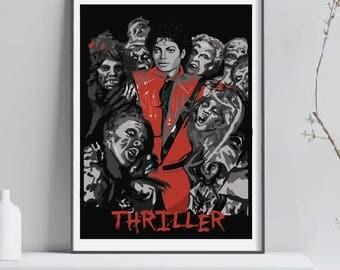 Michael Jackson poster. Michael Jackson illustration. Thriller poster. Music poster,