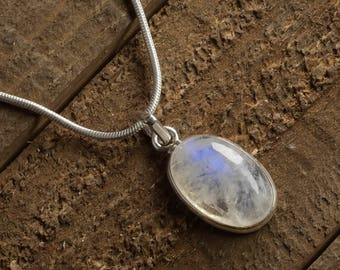 3.3cm MOONSTONE & STERLING SILVER Pendant - Rainbow Moonstone Pendant, Moonstone Jewelry, Rainbow Moonstone Necklace, Silver Jewelry J1108