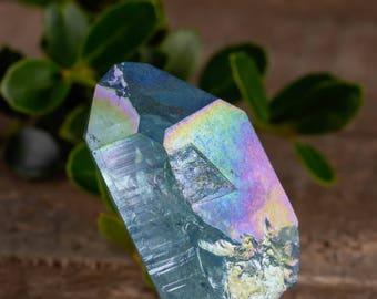 One Large AQUA AURA QUARTZ Crystal Point - Angel Aura Quartz Point, Rainbow Crystal Point, Aura Crystal, Rainbow Aura Quartz E0518