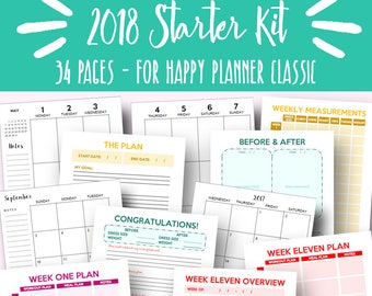 Happy Planner Fitness Journal and Weight Loss 2018 Happy Planner Weekly and Monthly Printables Weekly Plan 2018 Planner Kit Instant Download