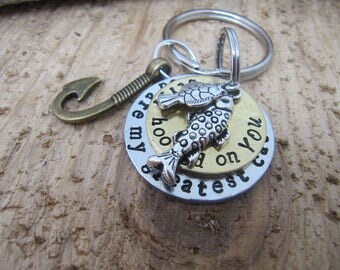 Personalized Hooked on You keychain,handstamped jewelry,boyfriend gift,Fisherman keychain,Anniversary gift ,I love you gift, Valentines day