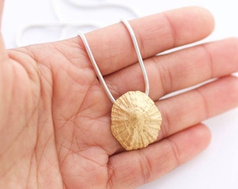 Necklace//Silver pendant & Gold bath//Cocha necklace//LAPA//Sterling Silver 925 Solid