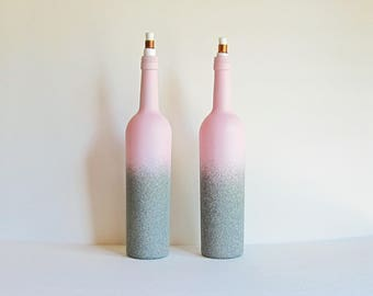 Pink Wine Bottle Citronella Torches,  Pink Tiki Torch, Patio Torch, Wine Bottle Decor, Patio Decor, Pink Torch Set