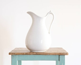 White Ironstone Pitcher, Antique Ironstone Large Pitcher, Table Pitcher, French Rustic Decor, French Country Decor, French Cottage Chic
