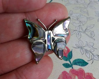 1970s Alpaca Mexico Silver and Abalone Wing Butterfly Brooch