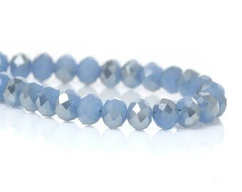 50 Blue 4mm glass faceted beads / oval beads