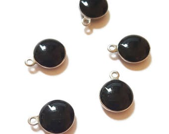5 charms/Sequins in stainless steel and black enamel of 1.3 cm