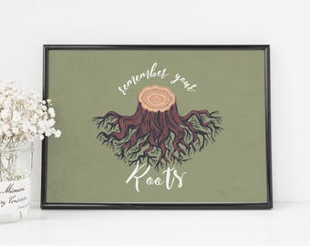 remember your roots art print, typography, botanical art prints, word wall art, nature home decor, watercolor wall art, illustration