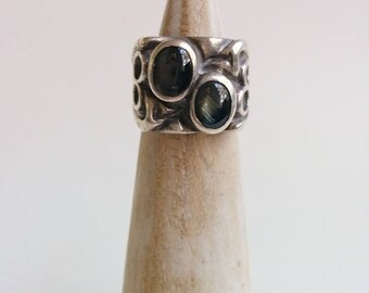 Sterling Silver Vintage Heavy Chunky Handmade Brutalist Design Double Gold Sheen Obsidian Cabochon Ring