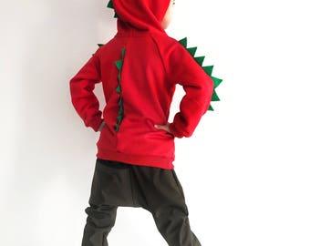 Dinosaur hoodie, dinosaur jumper, dinosaur sweater, hoodie with spikes, dinosaur birthday hoodie, dinosaur sweatshirt, halloween sweatshirt