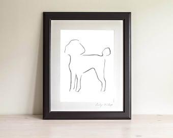 Framed Poodle Art Print, Poodle Line Drawing, Dog lover gift, Minimalist Line Art Print, Dog Art Print, Modern Line Drawing, 5 x 7, 8 x 10