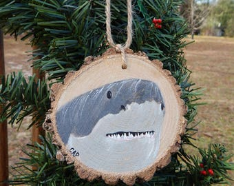 Great White Shark Hand painted wood slice ornament