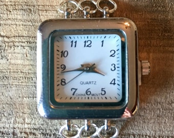 Square Silver 3 Loop Watch Face for Interchangeable Watch Bracelet