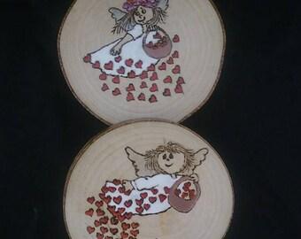 Wooden Angel Coasters