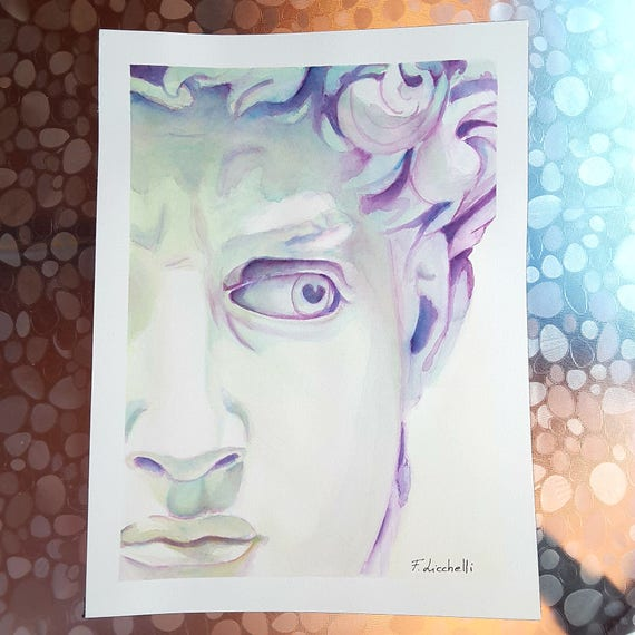 Michelangelo's David, detail, original watercolor by Francesca Licchelli, gift idea for amateurs of ancient art, home office decoration.