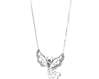Stunning 925 Sterling Silver Angel with Crystals - A Symbol of Divine love and light. Religious Jewellery. Gift Box Included