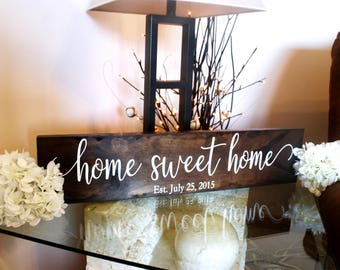 Home Sweet Home Sign. Housewarming Gift. Established Sign. Rustic Home Sign. Rustic Home Decor. Farmhouse Decor. Rustic Farmhouse Sign.
