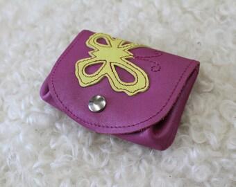 leather wallet. Pink wallet; Butterfly wallet