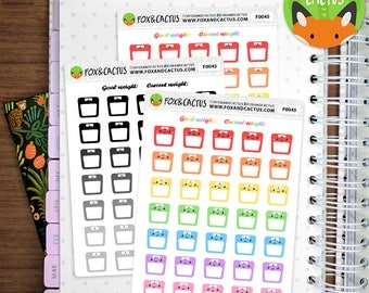 Weight Scales - Kawaii Weight Loss Fitness Exercise - Planner Stickers (F0045)