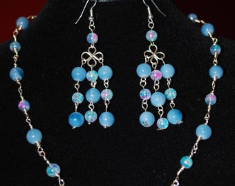 3 Pieces set in Glass beads on  Silver plated wire