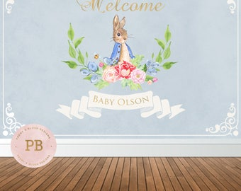 Digital Peter Rabbit Backdrop, Baby Shower Backdrop, Bunny Backdrop, Bunny Baby Shower, Baby Shower sign, Welcome sign, Cake Table Backdrop
