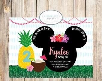 Minnie Mouse Luau Birthday Invitation