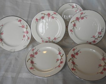 Peach Blossom by Knowles - set of 6 dessert plates - Peach blossoms with gray limbs
