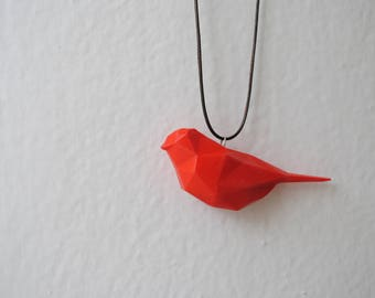 Red Bird - 3D printed Polygonal Pendant, PLA material