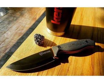"""NEW 4"""" Orange Liner G10 Knife No Sheath-Hollow Grind-Full Tang-Survival Knife-Bushcraft Knife-Hunting Knife-Men's Dad Husband Gifts"""