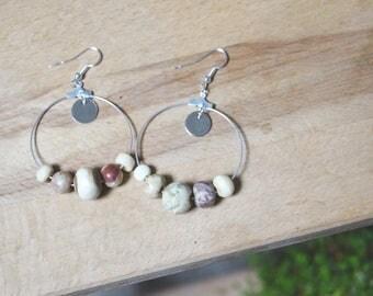 Ethnic earrings, gipsy, ecru and Tan beads and silver buds ethnic hoop earrings, Bohemian earrings