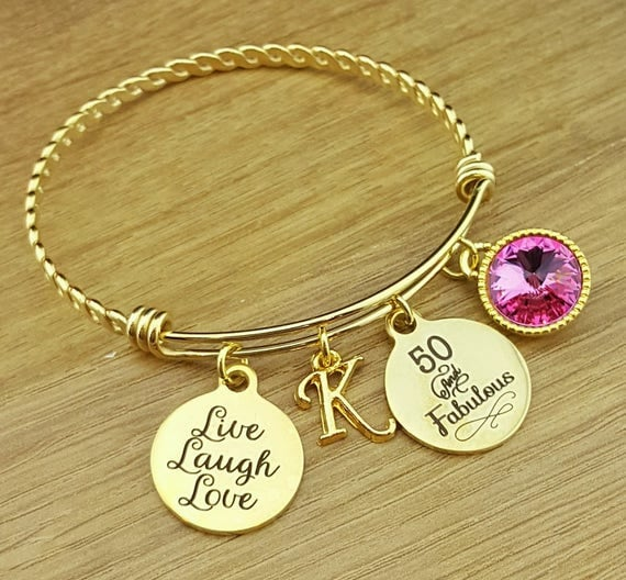 Gold Bangle 50 Birthday Gift 50th Birthday Gift Birthday Gift Birthday Gifts for Her Birthday Gift for Friend Birthday Gifts 50 and Fabulous