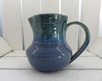 Handmade Jug, Handmade Ceramic Jug, Handmade Pottery Jug, Earthenware Jug, Milk Jug, Handmade Blue and Green Jug, Pitcher, Blue Jug,
