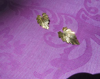 Gold covered leaf with gold studs, 1980's, interchangable with other earring's