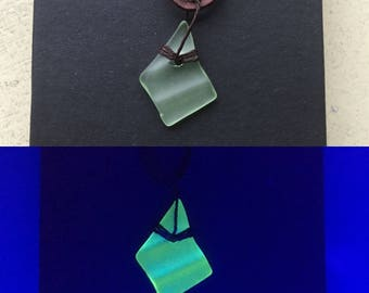 Recycled Uranium Glass Necklace (vintage glass)