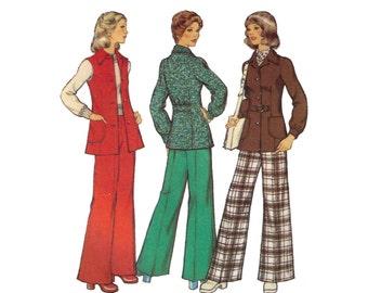 Style 4375, 70s sewing pattern, size 10 bust 32 women's jacket pattern, unlined jacket, trousers pattern