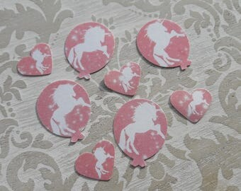 Pink and White Unicorns Balloon Shaped and Hearts Table Confetti Childrens Birthday Party Christening Table Decoration Confetti