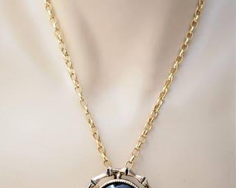"Vintage Cameo Pendant Brooch Statement Necklace Black Gold Tone Retro Costume Jewelry 24"""