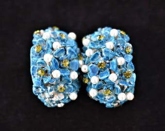 Vintage Blue Floral Flower Half Hoop Earrings Faux Seed Pearl Rhinestone Clip On Delicate Boho Costume Jewelry 1""