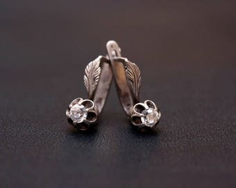 Sterling silver cubic zirconia flower earrings. Made in USSR
