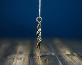 Abstract Necklace, .925 sterling silver with sterling silver chain, spiral twist necklace
