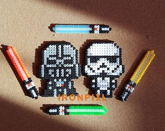 Figurines Darth Vader Darth Vader Stormtrooper lightsaber Chibi Star Wars [Pixel Art.