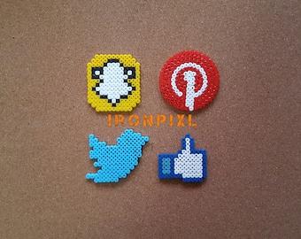 Logo Facebook Twitter Pinterest social [Pixel Art] Magnet Snapchat social media