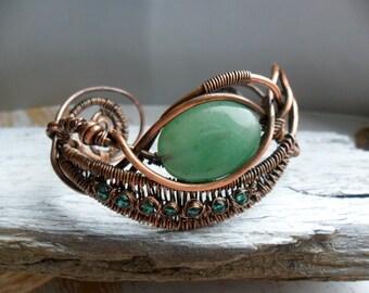 Copper wire cuff bracelet wire wrapped jewelry bracelet,  aventurine cuff bangle bracelet copper wire jewelry handmade bracelet gemstone