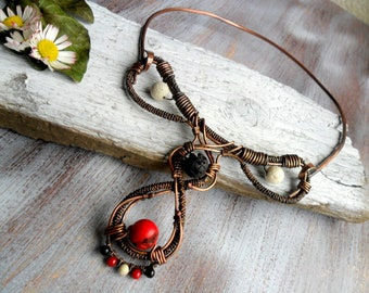 Wire wrapped necklace with coral and lava stone Copper wire necklace Tribal necklace Wire necklace Celtic necklace Rustic copper OOAK